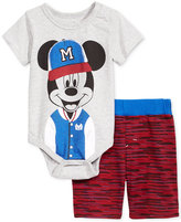 Nannette 2-Pc. Mickey Mouse Bodysuit and Shorts Set, Baby Boys (0-24 months)