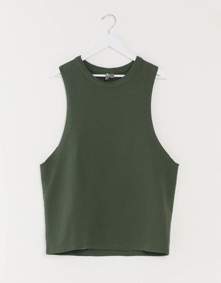 ASOS DESIGN relaxed sleeveless t-shirt with dropped armhole in khaki heavyweight textured fabric