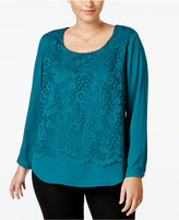 NY Collection Plus Size High-Low Lace Top
