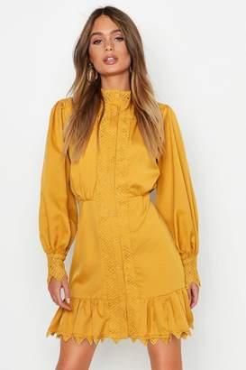 boohoo Lace Panel High Neck Ruffle Hem Mini Dress