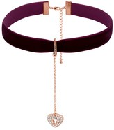 Lipsy Crystal Heart Padlock Charm Choker Necklace