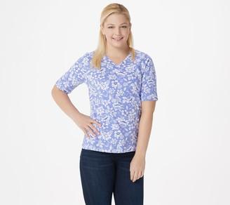 Denim & Co. Printed Jersey V-Neck Elbow-Sleeve Top