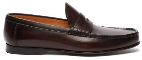 c72e321d4b3 Chalmers Leather Penny Loafers - Mens - Dark Brown