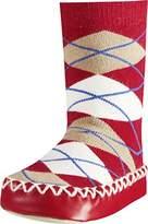 Playshoes Girls Slipper Socks, Moccasins, House Shoes, Plaid Socks,(Manufacturer Size:17-18/)