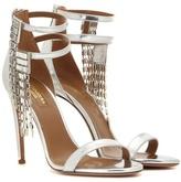 Aquazzura Embellished Metallic Leather Sandals