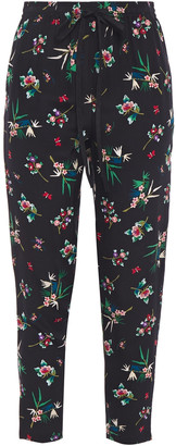 RED Valentino Cropped Floral-print Silk Crepe De Chine Tapered Pants