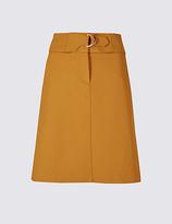 M&S Collection Cotton Blend Buckle Detail A-Line Mini Skirt