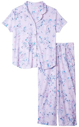 Karen Neuburger Plus Size Garden Rosa Short Sleeve Girlfriend Capris PJ (Pink Floral) Women's Pajama Sets