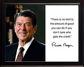 """Ronald Reagan """"There is no limit"""" Quote Autograph 8x10 Framed Photo"""