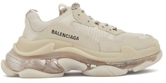 Balenciaga Triple S Leather And Mesh Trainers - Light Beige