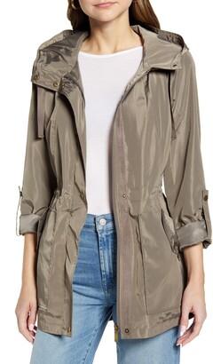 Halogen Cinch Waist Hooded Rain Coat