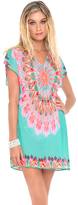 Luli Fama Dream Catcher Cap Sleeve Short Caftan In Multicolor (L472991)