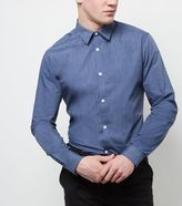New Look Blue Long Sleeve Cross Dye Shirt