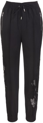 Ermanno Scervino Black Joggers In Wool And Lace