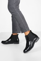 boohoo Wide Fit Croc Chelsea Boots