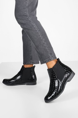boohoo Wide Fit Croc Chelsea Boots
