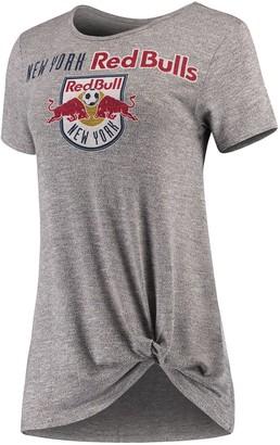 Women's Concepts Sport Gray New York Red Bulls Layover Knot Tri-Blend T-Shirt