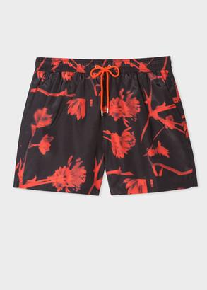 Paul Smith Men's Black 'Screen Floral' Print Swim Shorts