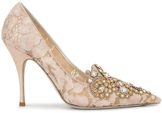 Rene Caovilla embellished lace pumps