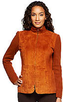 Linea by Louis Dell'Olio Suede Zip Front Jacketwith Rib Trim