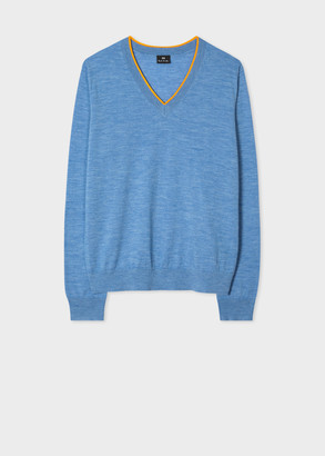 Women's Sky Blue Marl V-Neck Sweater
