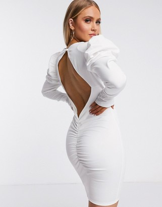 Flounce London volume sleeve mini dress with cut out back in white