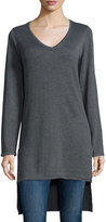 Neiman Marcus V-Neck High-Low Tunic, Charcoal Gray