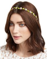 Jennifer Behr Madeline Painted Floral Bandeau Headband, Pink/Green