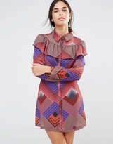 Liquorish Geometric Frill Long Sleeve Dress