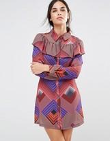 Liquorish Geometric Frill Long Sleeve Dress