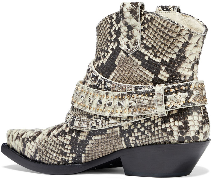 Thumbnail for your product : Zimmermann Cowboy Buckled Studded Leather Ankle Boots