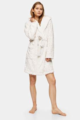 Topshop Womens Cream Tiger Textured Dressing Gown - Oatmeal