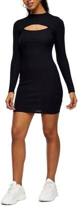 Topshop Ribbed Long Sleeve Cutout Jersey Minidress