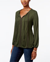 Style&Co. Style & Co. Petite Crochet-Detail Peasant Top, Only at Macy's