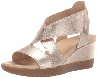 Aerosoles Women's Bloom Wedge Sandal - Opened Toed Shoe with Memory Foam Footbed (5M - Black Leather)