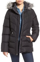 Larry Levine Women's Quilted Coat With Faux Fur Trim