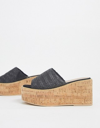 Asos DESIGN Toya cork wedges in black weave