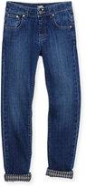 Karl Lagerfeld Straight-Leg Denim Jeans, Dark Denim, Size 2-5