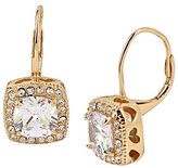 Betsey Johnson Betsey Blue Square Crystal Drop Gold Earrings