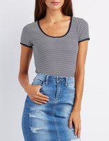 Charlotte Russe Striped Cropped Ringer Tee