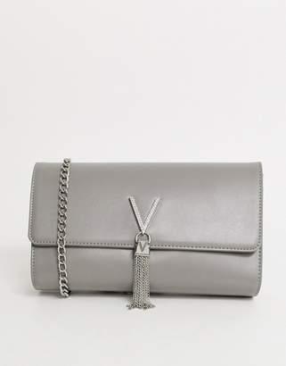 Mario Valentino Valentino By Valentino by Ranma grey foldover clutch bag with diamante logo