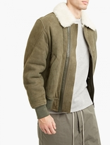 Yves Salomon Khaki Suede And Shearling Jacket