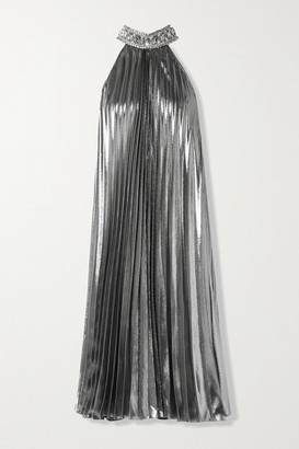 Andrew Gn Crystal-embellished Pleated Silk-blend Lame Midi Dress - Silver