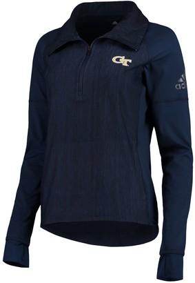 adidas Women's Heathered Navy Georgia Tech Yellow Jackets Corner Logo climalite Raglan Quarter-Zip Pullover Jacket