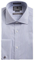Black Brown 1826 Non-Iron Slim-Fit Striped French Cuff Dress Shirt