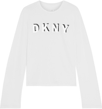DKNY Printed Stretch Cotton And Modal-blend Jersey Top
