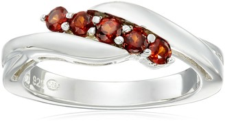 Amazon Collection Sterling Silver Genuine Garnet Five Stone Bypass Ring Size 7