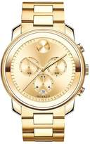 Movado Bold 44mm Case Yellow Gold Plated Chronograph Stainless Steel Bracelet Mens Watch