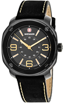 Wenger Escort 01.1051.106 Men's Black Leather and Stainless Steel Watch