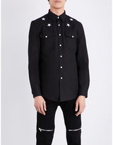 Givenchy Star-embroidered Slim-fit Stretch-denim Shirt
